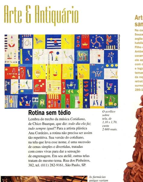 Ateliê Ana Cordeiro - Publicações 10b/ Revista Casa Claudia ANO 21 setembro