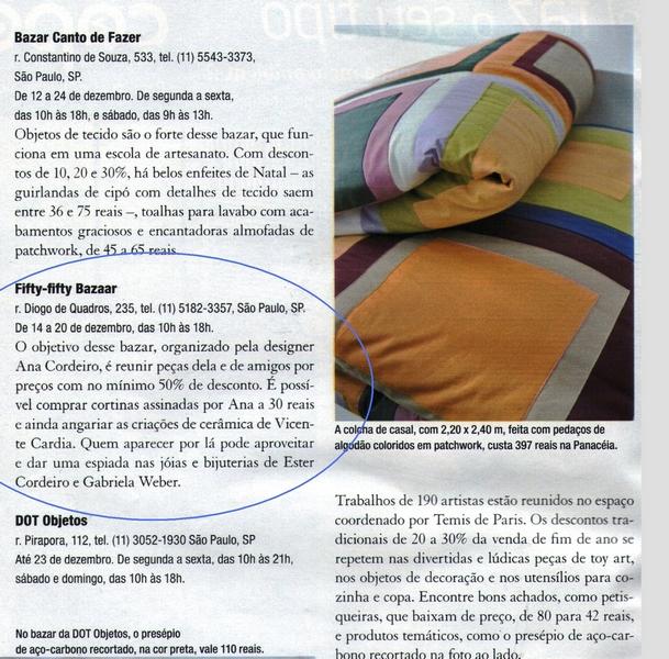 Ateliê Ana Cordeiro-Publicações 2/ Revista Casa Claudia - ANO 32 dezembro