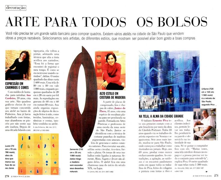 Ateliê Ana Cordeiro - Publicações 22b / Revista Claudia ANO 38 junho