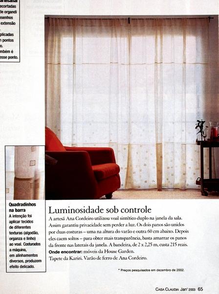 Ateliê Ana Cordeiro-Publicações 7b/ Revista Casa Claudia ANO 27 janeiro