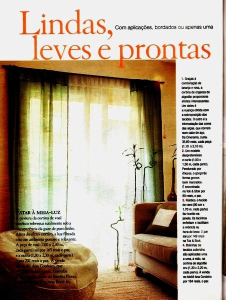 Ateliê Ana Cordeiro-Publicações 8b/ Revista Casa Claudia ANO 25 janeiro