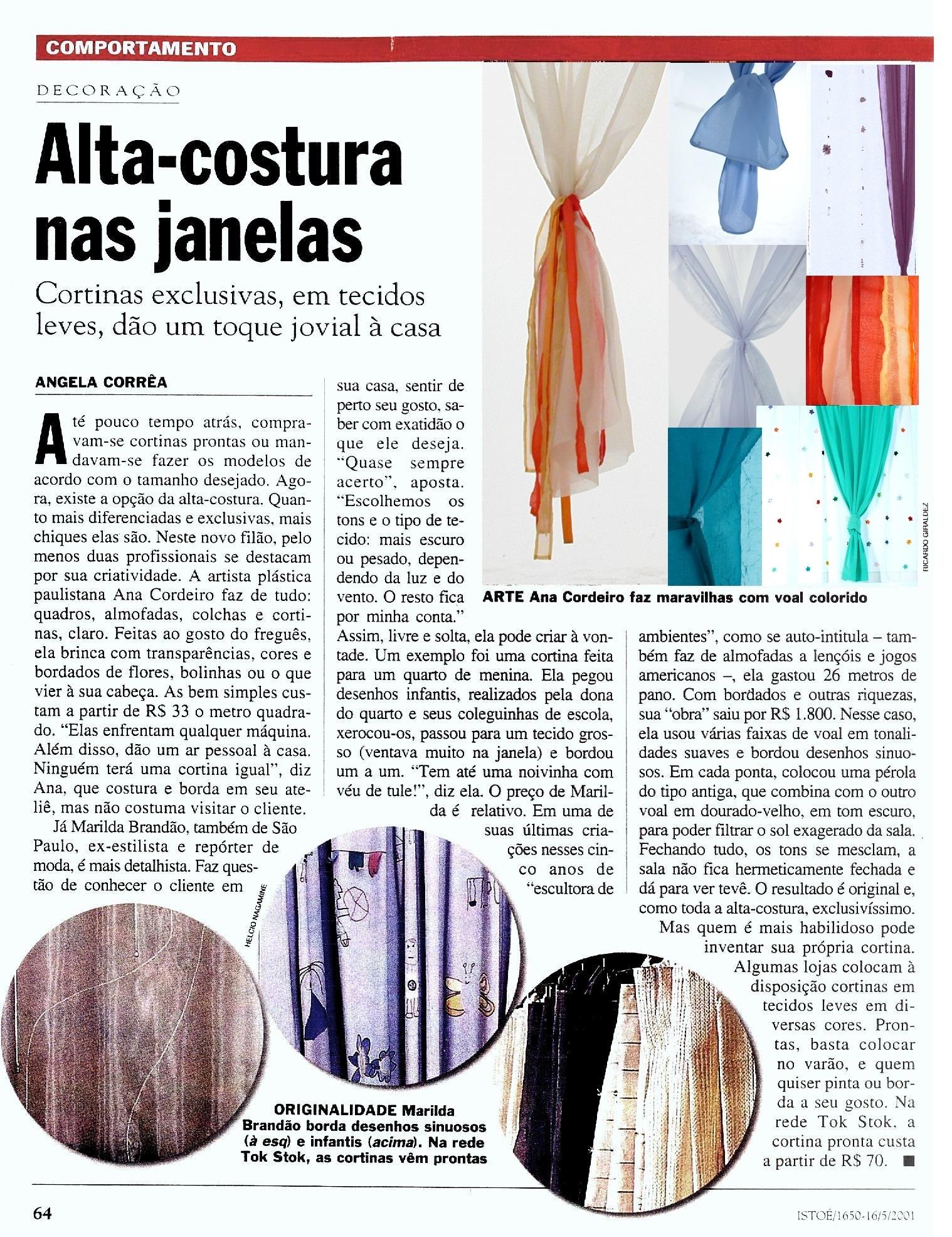 Ateliê Ana Cordeiro – Publicações 24b/ Revista Isto É N- 1650 – maio