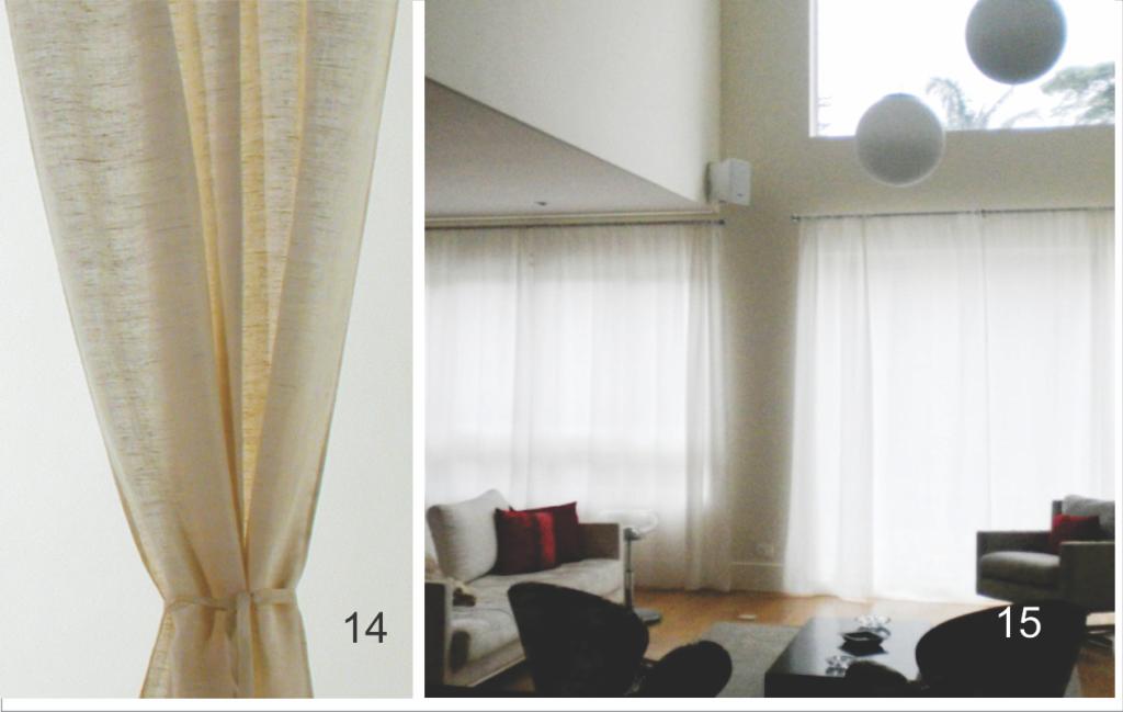Cortina de linho rústico e cortinas de crepe e voil marfim
