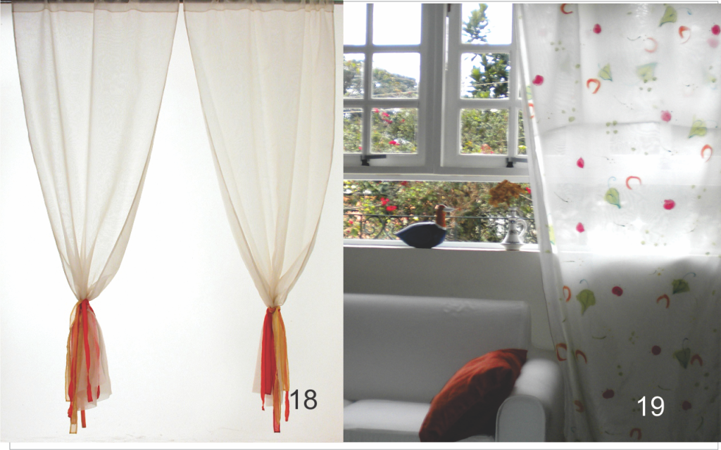 Cortinas de cambraia de algodão e cortinas de voil com pintura artesanal