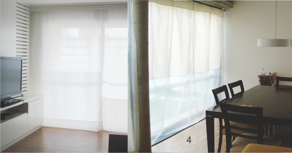 Cortina Contínua em tecido transparente e tecido fechado.
