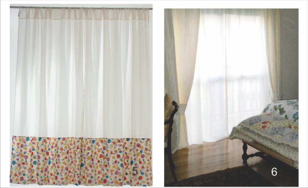 Cortina com barra estampada, e cortina com xale de abraçadeiras largas